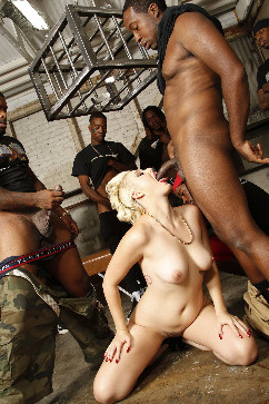 Jenna Ivory Hot blonde gets black cock orgy and cum swallow marathon