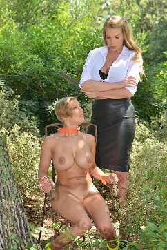 Loulou Petite  Lesbian domination fetish in the woods!