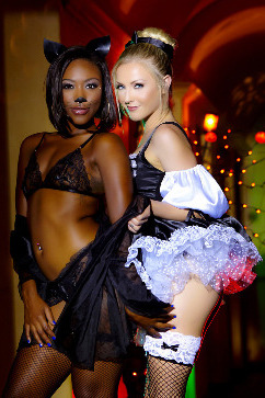 Chanell Heart Naughty Halloween games - Interracial lesbian sex!