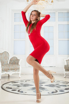 Gracie Graceful youth - red dress, stockings and sex