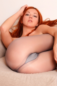 Elen Moore Hot redhead in pantyhose naughty stripping