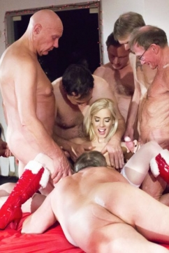 Nesty Blonde fucked on Christmas  in hardcore gangbang