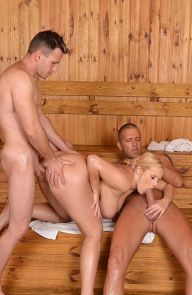 Angel Wicky Busty Blonde Takes Two Cocks in the sauna