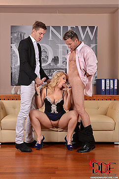 Bonnie Rose Office Babe Takes On Two Cocks