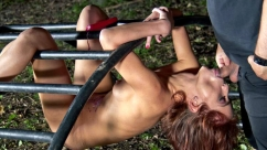Tina Hot Submissive slave punished in a bondage forest
