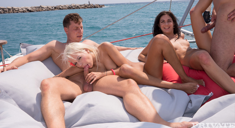Lullu Gun Foursome on the boat of free pleasures