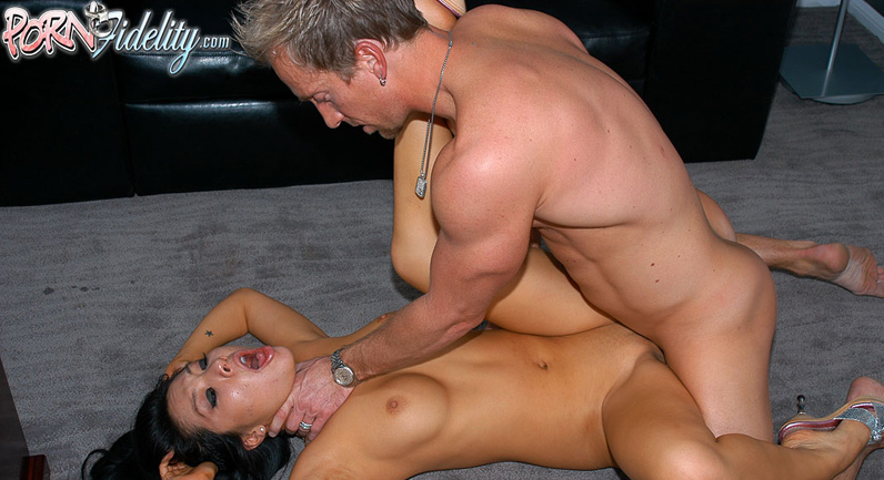 Asa Akira Asa is choked and hard fucked in her twat