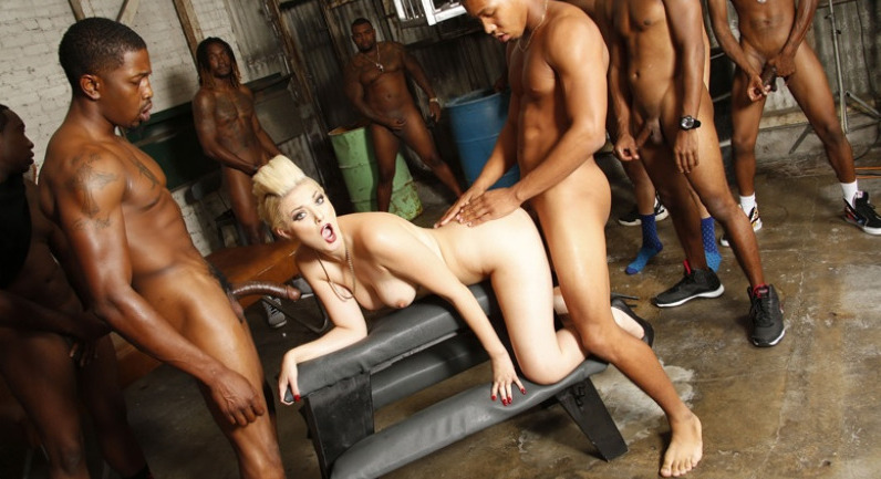 Jenna Ivory Blonde in black cock orgy and jizz swallowing